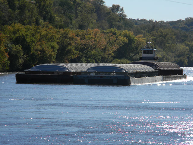 A tow pushes barges on the Mississippi River in mid-October 2016, heading to the Gulf through the St. Paul Minnesota District. (DTN photo by Mary Kennedy)
